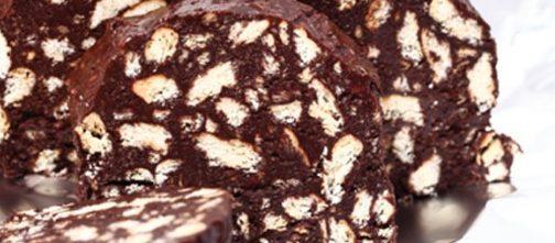 salame di cioccolato con biscotti